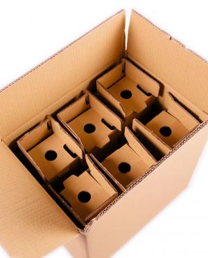 Caixa para 6 Garrafas de Cartão Canelado (Packs de 20 unidades)